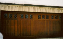 Dark stained overhead doors with windows