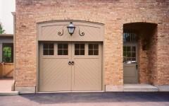Dual overhead residential overhead door tan