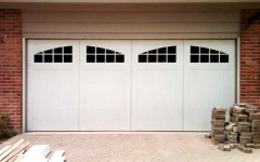 Double wide Garage Doors - white with arched windows