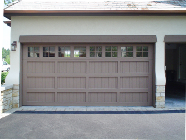 Custom Panel Garage Door   Gray with Windows. Entrance Systems   Custom Residential Overhead Garage Doors