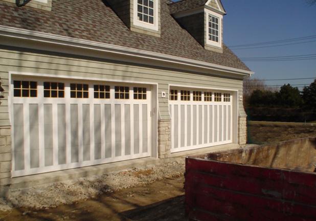Dual Double Wide Garage Doors   Gray With Windows